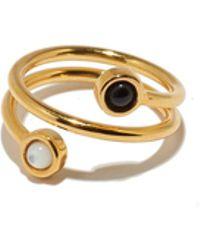 Lizzie Fortunato - Spiral Ring In Black + White - Lyst