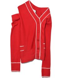 Monse - Twisted Cardigan In Red/white - Lyst