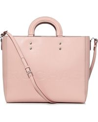 Rochas - Hard Handle Embossed Tote In Light Beige Pink - Lyst