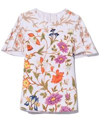 Peter Pilotto - Printed Waffle Pleat Sleeve Top In Botanical White - Lyst
