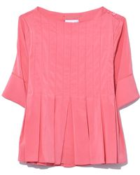 Carven - Pleated Top In Rose Fuji - Lyst