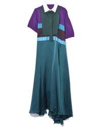 Sacai Pasta Knit Satin Dress In Purple/turquoise/brown