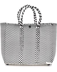 Truss - Small Tote With Leather Pocket In Black/white - Lyst