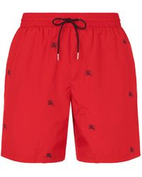 Burberry - Guildes Embroidered Logo Swim Trunks - Lyst