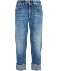 Brunello Cucinelli - Cuffed Cropped Jeans - Lyst