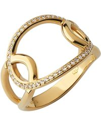 Links of London - Yellow Gold Vermeil And White Topaz Ovals Cut-out Ring - Lyst