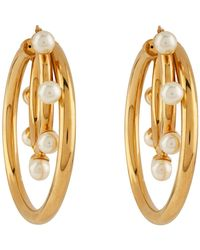 Peter Pilotto - Pp Large Double Hoop Pearl Earring Gold - Lyst