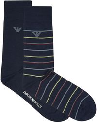 Emporio Armani - Stretch Cotton Striped Socks (pack Of 2) - Lyst