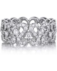 De Beers - White Gold And Diamond Swan Ring - Lyst