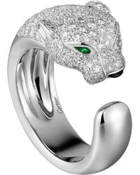 Cartier - White Gold And Diamond Panthre De Ring - Lyst