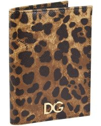 c3b1d933a264 Dolce & Gabbana - Leather Leopard Printed Passport Holder - Lyst