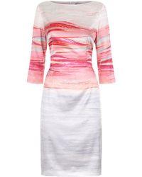 St. John - Brush Stroke Silk Charmeuse Dress - Lyst