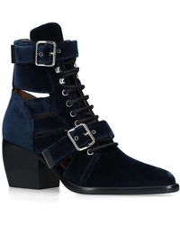 Chloé - Rylee Velvet Lace Up Buckle Boots - Lyst