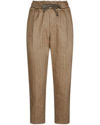 Brunello Cucinelli - Elasticated Linen Trousers - Lyst