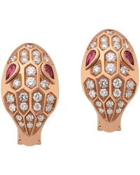 BVLGARI | Rose Gold Rubellite And Diamond Serpenti Stud Earrings | Lyst