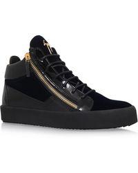 Giuseppe Zanotti - Velvet Mix Mid-top Sneakers - Lyst