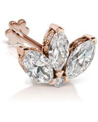 Maria Tash - Rose Gold Engraved Diamond Lotus Threaded Earring - Lyst