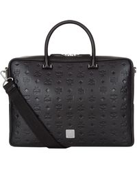 MCM - Embossed Leather Briefcase, Black, One Size - Lyst