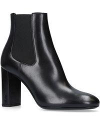Saint Laurent - Leather Loulou Ankle Boots 95 - Lyst