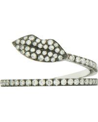 Delfina Delettrez   Marry Me White Gold Lips Ring, Silver, 53   Lyst