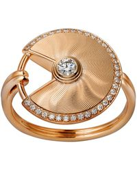 Cartier - Pink Gold And Diamond Amulette De Ring - Lyst