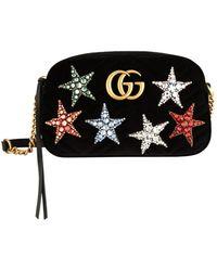 18bad31bc832 Gucci - Small Velvet Marmont Matelass Cross Body Bag - Lyst