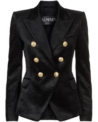 Balmain - Double-breasted Velvet Blazer - Lyst