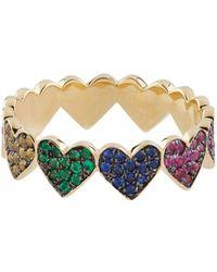 Sydney Evan - Yellow Gold And Rainbow Sapphire Heart Eternity Ring - Lyst