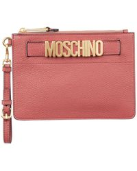 Moschino - Leather Logo Wristlet Clutch - Lyst