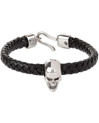 Alexander McQueen - Skull Braided Leather Bracelet - Lyst