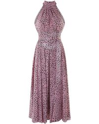 Diane von Furstenberg - Floral Silk Halterneck Dress - Lyst