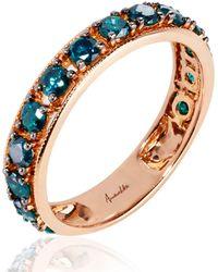 Annoushka - 18ct Rose Gold Dusty Diamonds Blue Diamond Eternity Ring - Lyst