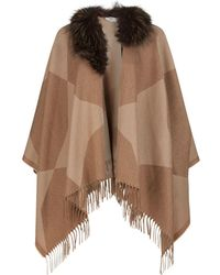 Fendi - Fox Fur Collar Poncho - Lyst