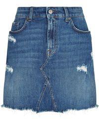 7 For All Mankind - Distressed Mini Skirt - Lyst