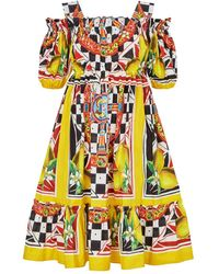 Dolce & Gabbana Printed Off-the-shoulder Dress