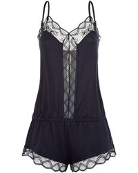 Eberjey - Georgina Lace Trim Playsuit - Lyst
