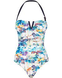 Shan | Watercolour Bandeau Swimsuit | Lyst