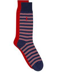 Ralph Lauren - Solid And Stripe Socks (2 Pack) - Lyst