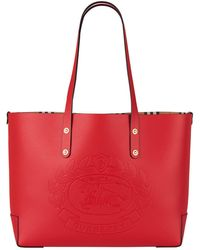 e672a75ddea5 Burberry The Leather Crest Grommet Detail Tote in Red - Lyst