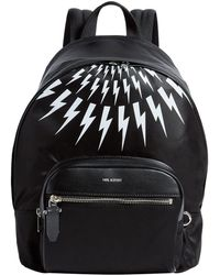 51cf4fac16 Lyst - Neil Barrett Lightning-bolt Embossed Leather Backpack in ...