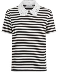 Claudie Pierlot - Embroidered Collar Striped T-shirt - Lyst