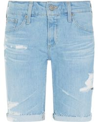AG Jeans - Nikki Distressed High-rise Shorts - Lyst