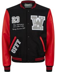 d71c2efdde58 Off-White c o Virgil Abloh Eagle-Embroidered Bomber Jacket in Black ...