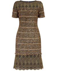 St. John - Gold Knit Dress - Lyst