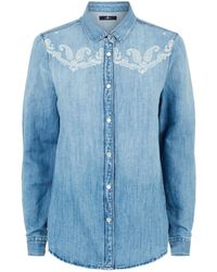 7 For All Mankind - Embroidered Denim Shirt - Lyst