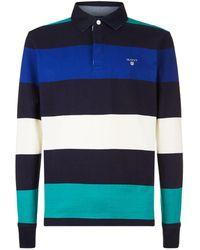 GANT - Cotton Stripe Printed Rugby Shirt - Lyst