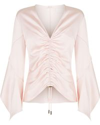 Peter Pilotto - Ruched Satin Blouse - Lyst
