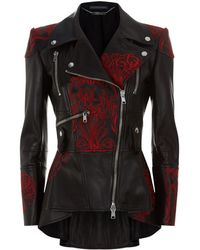 Alexander McQueen - Embroidered Leather Peplum Biker Jacket - Lyst