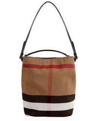 Burberry - The Medium Asbhy Check Canvas Bag - Lyst