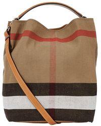 Burberry - The Medium Ashby Check Canvas Bag - Lyst